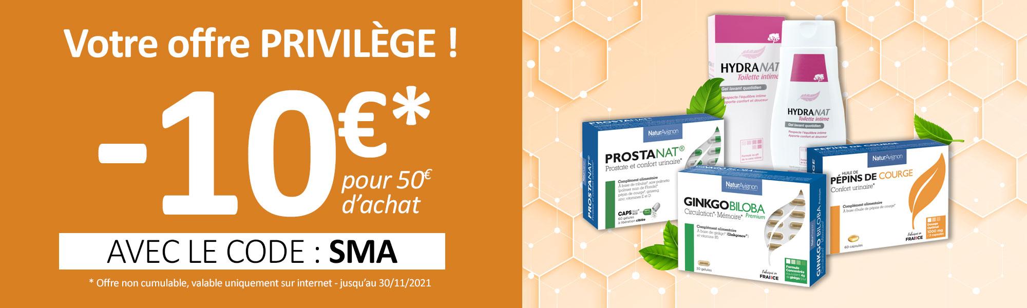 Offre privilège : 10 € offerts dès 50€ d'achat avec le code SMA
